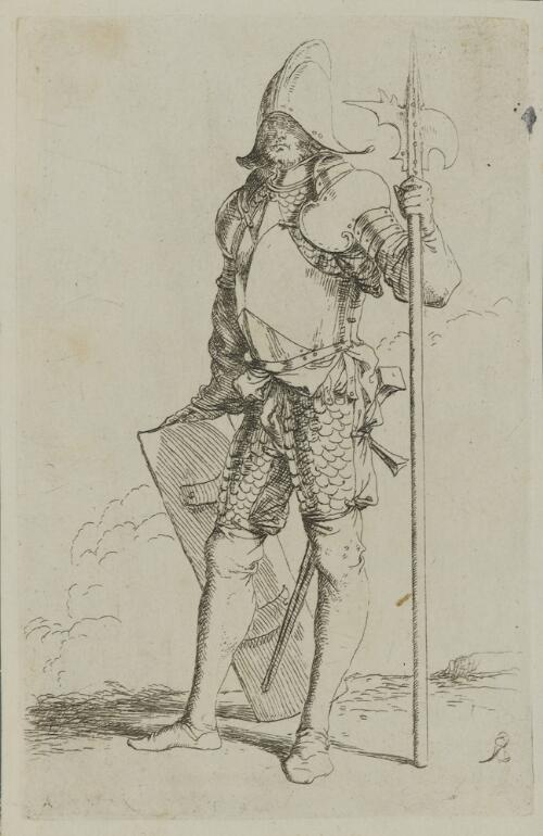 The Works of Salvator Rosa: Soldier, Standing, Holding a Cane, Facing Left