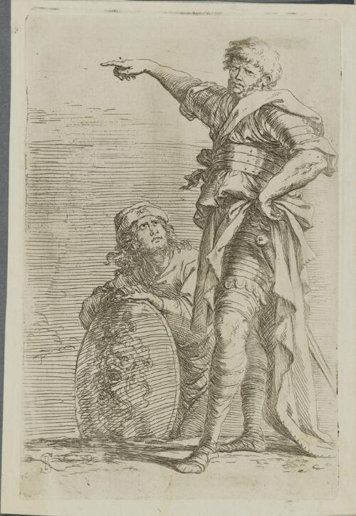 The Works of Salvator Rosa: Two Soldiers, One Pointing Toward the Left,the One Below Holding a Sheild