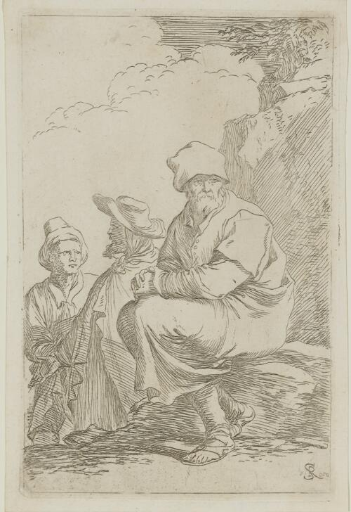 The Works of Salvator Rosa: Seated Peasant with Two Other Men