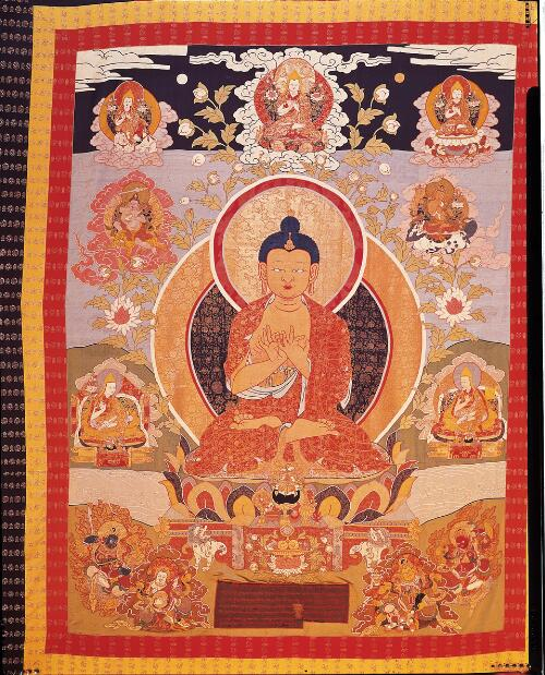 The Future Buddha Maitreya Flanked by the Eighth Dalai Lama and His Tutor