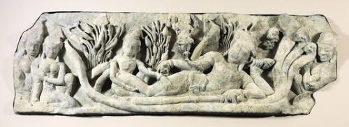 Lintel with Reclining Vishnu and Retinue
