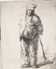 Rembrandt van Rijn - Ragged Peasant with His Hands Behind Him, Holding a Stick