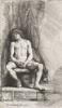 Rembrandt van Rijn - Nude Man Seated Before a Curtain