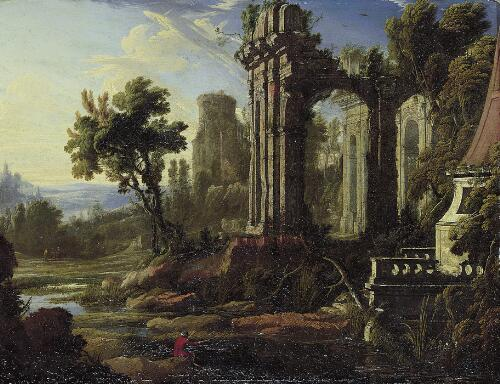 A Capriccio Landscape with Ruins and an Angler