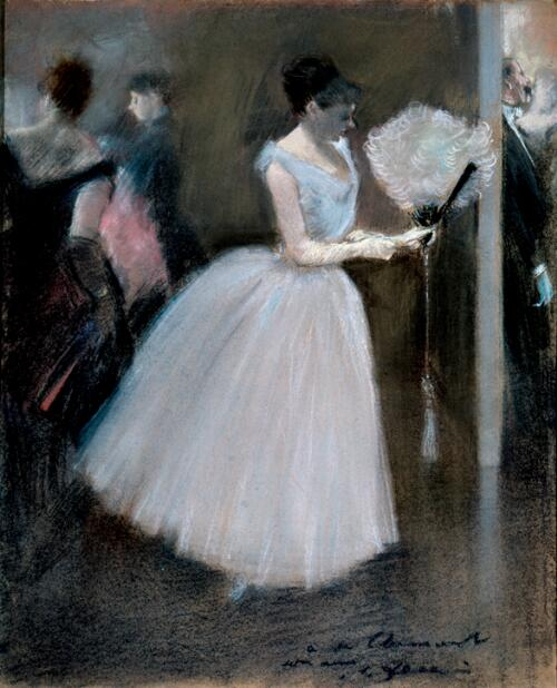 At the Evening Party: Woman in White with a Fan